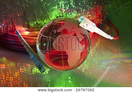 world map technology style against fiber optic background