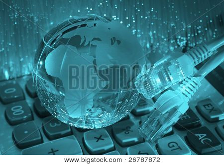 Stock Photo:  technology earth globe against fiber optic background