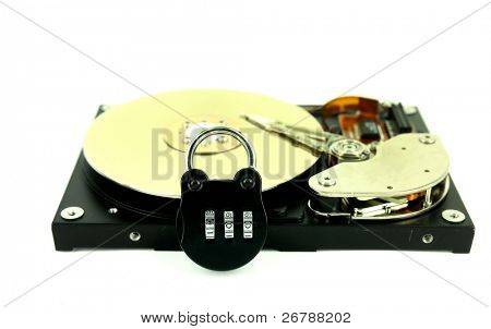 computer harddisk and heads with lock