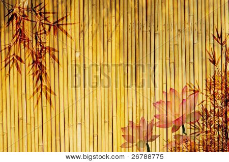 lotus and bamboo background