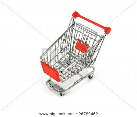 shopping cart over white background
