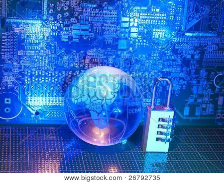 Lock and grass earth with technology style against fiber optic background