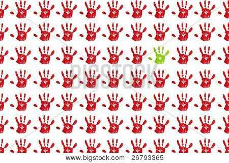 close up colorful child handprints on white