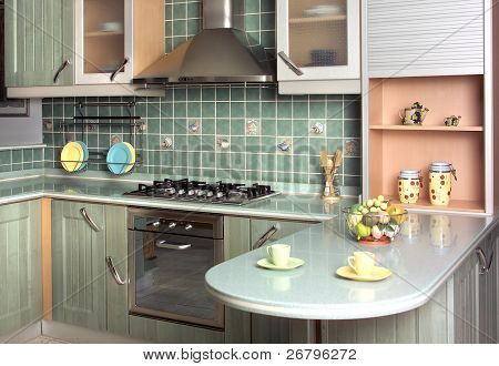 close up shot of a green modern kitchen