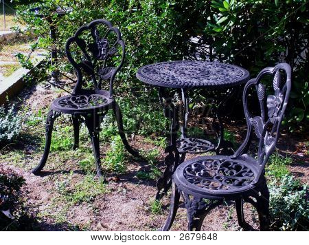Wrought Iron Garden Chairs And Table Set