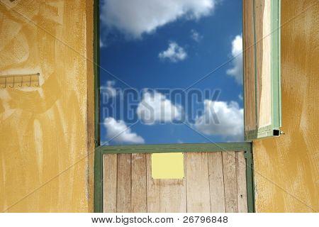 close up shot of a door and sky
