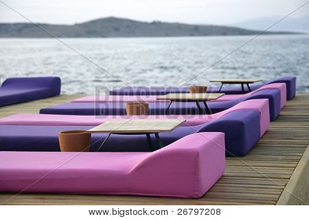 An image of cushions at a pier