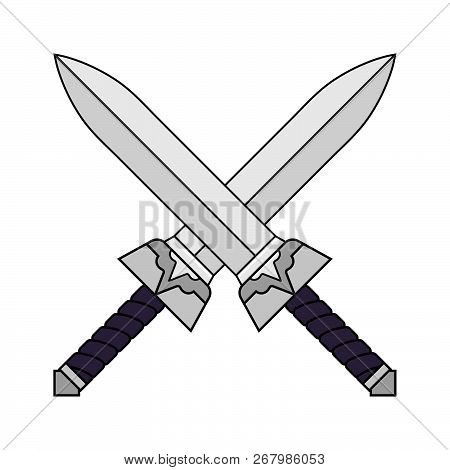 Cartoon Crossed Swords Isolated On