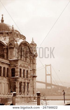 Bosphorus Bridge and Ortakoy Mosque in Istanbul Turkey