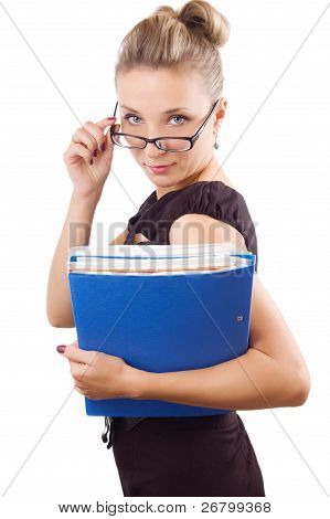 Woman Looking Through The Glasses With Papers