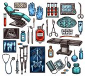 Medical Equipment Of Hospital. Vector Examination Chair And Gloves, Blood In Flasks And Monitor With poster