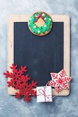 Christmas Chalkboard With Copy Space. Christmas Sales Concept. Blackboard And Christmas Decorations poster
