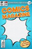Comic Book Cover. Retro Cartoon Comics Magazine. Vector Template In Pop Art Style. Magazine Cartoon  poster