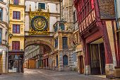 Old Cozy Street In Rouen With Famous Great Clocks Or Gros Horloge Of Rouen, Normandy, France With No poster