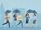 Cartoon People With Umbrella Walking The Street In Rainy Day. Vector Person With Umbrella In Rain St poster