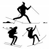 Skiing People Black Silhouettes Isolated On White Background. Vector Ski Silhouette Sport People, Il poster