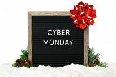 Felt board decorated with Christmas bow and ribbon - Cyber Monday poster