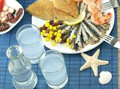 image of ouzo  - Seafood and ouzo - JPG
