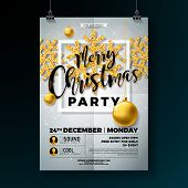 Christmas Party Flyer Illustration With Shiny Gold Glittered Snowflakes And Typography Lettering On  poster