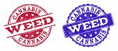 Grunge Weed Seal Stamps In Blue And Red Colors. Stamps Have Distress Texture. Vector Rubber Imitatio poster