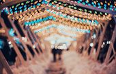 Blurred City With Christmas Lights At Night. New Year Bokeh poster