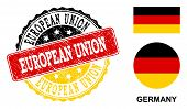European Union Stamp Seal. Vector Rubber Watermark With Official Colors Of Germany Flag. Designed Fo poster
