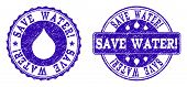 Grunge Save Water Stamp Seal Watermarks. Save Water Text Inside Blue Retro Rubber Seals With Grunge  poster