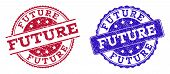 Grunge Future Seal Stamps In Blue And Red Colors. Stamps Have Distress Style. Vector Rubber Imitatio poster
