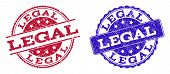 Grunge Legal Seal Stamps In Blue And Red Colors. Stamps Have Draft Surface. Vector Rubber Imitation  poster