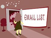 Conceptual Hand Writing Showing Email List. Business Photo Showcasing Contacts Information To Send E poster