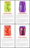 Preserved Food In Jars Posters With Text Set. Salty Cucumber, Healthy Blueberry, Chili Pepper And Ri poster