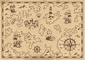Vintage Monochrome Pirate Treasure Map With Sailor Ship Wheel Mermaid Lighthouse Octopus Compass Sea poster