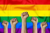 Hands Raised Up And Clenched In A Fist Against The Background Of The Lgbt Flag. Concept Of Unity Of  poster