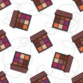 Seamless Pattern, Handdrawn Color Sketch Of Eyeshadow Palette, Makeup Product poster