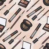 Seamless Pattern, Handdrawn Color Sketch, Set Of Eyebrow Products On A Watercolor Background poster