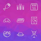 Nutrition Icons Line Style Set With Ham, Potato Chips, Dough And Other Stove Elements. Isolated Vect poster