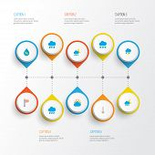 Climate Icons Flat Style Set With Drip, Shower, Outbreak And Other Rain Elements. Isolated Vector Il poster