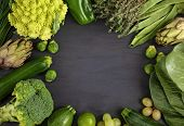 Top View Of Fresh Organic Vegetables In Green Color. Healthy Eating Concept In Different Seasons. Or poster