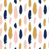 Vector Bird Feathers Background. Summer Exotic Quill Feather Cute Seamless Pattern, Illustration, Wr poster