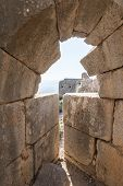 View Of The Corner Tower From The Destroyed Loophole Of The Round Tower In Nimrod Fortress Located I poster