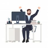 Male Office Worker Or Clerk Sitting At Desk And Rejoicing. Happy Joyful Manager Celebrating Success  poster