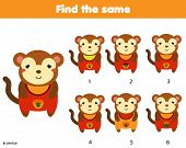 Find The Same Pictures Children Educational Game. Find Two Identical Monkey poster