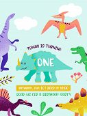 Happy Birthday Card With Fun Dinosaur, Dino Arrival Announcement, Greetings In Vector Illustration poster