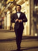 Confident Businessman. Young Man Wears Suit And Bow Tie With Confidence. poster