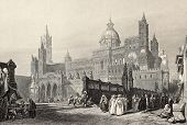 Antique illustration of Palermo Cathedral, Italy. The original engraving, created by W. Leitch and J