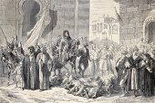 Antique illustration of Dosseh ceremony, procession on living bodies. Original, from a design of   B