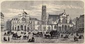 Antique illustration of Place du Louvre, with Mairie du 1er arrondissement, the belfry and Saint Ger