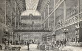 Old illustration of central storehouse of glass factory Renault, Rue de l'Entrepot, Marais, Paris. O