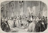 Antique illustration of queen of Spain hand kissing ceremony. Original, from drawing of Blanchard, a