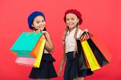 Shopping Become Fun With Best Friends. Kids Cute Schoolgirls Hold Bunch Shopping Bags. Children Sati poster